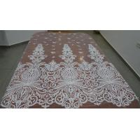 China Embroidered Guipure Beaded Lace Fabric Polyester On Nylon Mesh With Flower wholesale