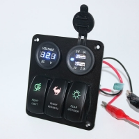 Buy cheap Custom made Auto car marine 3 Gang Rocker Switch Panel with voltmeter and USB from wholesalers