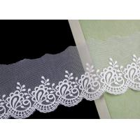 China Nylon Mesh Cotton Embroidery Lace Trim With Floral Design Scalloped Edge No Azo wholesale
