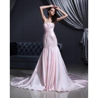 China Pink Satin dropped waist Halter Neck Wedding Dresses with chapel train wholesale