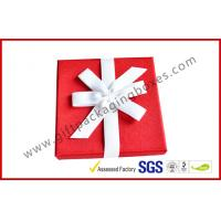 China Elegant Square 1200G Grey Board Gift Ppackaging Boxes , Fabric Gift box with Ribbon wholesale