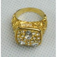 China Tin Alloy Unisex gold Western Jewelry Rings with Rhinestone for Anniversary OEM wholesale