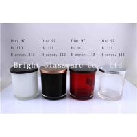 China Colorful Glass Candle Holder , Candle Jar With Lid Cover wholesale