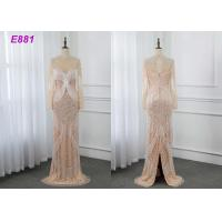 China Heavy beading evening dress tassels long sleeves sheath formal party dress wholesale