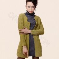 China Green Cardigan Ladies V Neck Sweaters , breathable ladies Wool Sweaters wholesale