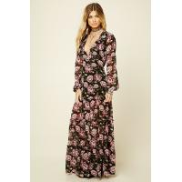 China Floral Print Sexy Womens Chiffon Formal Dresses V Neck Long Sleeve Multi Colors wholesale