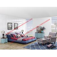 China Blue and white strip Upholstered furniture bedding ship type headboard with pillow and fabric surronding bedstead wholesale