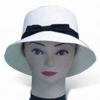 China Straw Hat, Available in White, Made of 100% Polyester with Hatband wholesale