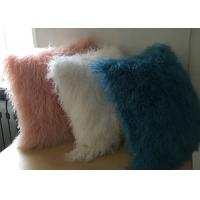 White Fuzzy Decorative Pillow , Extra Long Curly Mongolian Lambswool Cushion
