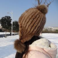 China Natural Mink Fur Knit Earflap Winter Sheepskin Hats Hat Pom Pom Striped Style wholesale
