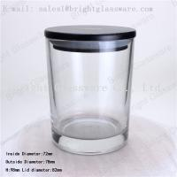 China Scented Soy Wax Candle Jar with black wooden lid wholesale
