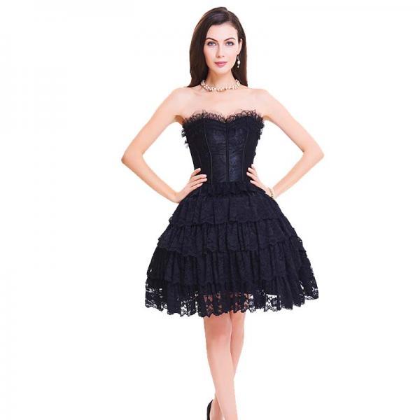 Wholesale Black Lace Steel Bone Corset Dress front