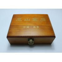 China Custom Handmade Lacquered Wooden Box , Brown Color Hinged Lid Wooden Crate Boxes With Gold Logo wholesale