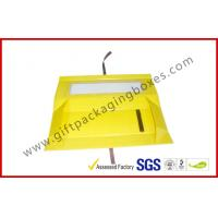 China Foldable Yellow Customized Gift Packaging Boxes With Big Window , Magnetic Flat Packing Gift Box wholesale