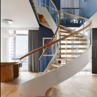 China Modern Wooden Steel Curved Staircase Design wholesale