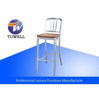 Durable Aluminum Emeco Navy Stool With Wooden Seat Metal