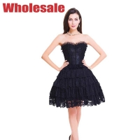 Buy cheap Women'S Lacing Corset Top Satin Floral Boned Overbust Body Shaper Bustier Dress from wholesalers