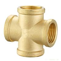 China Brass Cross connector/ Brass Cross hose fittings/Pneumatic connector/OEM precision brass hose screw fitting wholesale