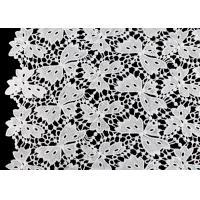 China Floral Schiffli Guipure Water Soluble Lace Fabric With Poly Milky Silk By SGS wholesale