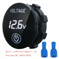 China DC 5V-48V LED Panel Digital mini round led voltmeter with Touch ON OFF Switch wholesale
