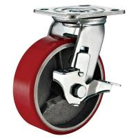 Lockable Industrial Trolley PU Caster Wheel With Plate Fitting 4 Inches for sale
