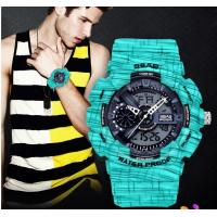 Buy cheap Wholesale men dual time waterproof 30m TPU Band Stopwatch Alarm Outdoor Wrist Watches S-8017-4 from wholesalers