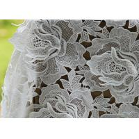 China White Water Woluble French Polyester Guipure Lace Fabric With 3D Flower Design wholesale