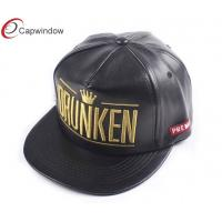 Quality 5 Panel Gold Embroidery Custom Strapback Hats PVC Leather For Boy for sale
