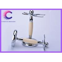 China Safety Shaving Brush And Razor Stand with Stainless steel ivory acrylic  material wholesale