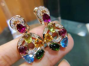 China Astrale earrings 18k yellow gold set with blue topaz, green tourmaline, peridot, citrine and red garnet set with diamond wholesale