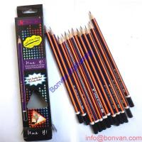 China classic black and white stripped hexagonal wooden HB dipped pencil wholesale