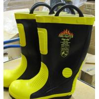 China Firefighting Unit Rubber Fireman Safety Boot With Steel Cap And Sole on sale