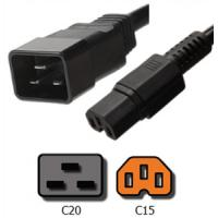 UL Listed PDU IEC 60320 Power Cord 15A 250V 14 AWG / 3 SJT C20 to C15