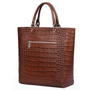 China Vintage Crocodile PU leather Handbags for Lady Fashion Shoulder Handbag Tan Color Tote Bag with Zip Pocket Bucket Bags on sale