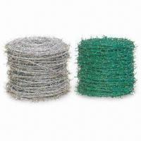 China Barbed Iron Wire, Made of Low Carbon Steel and PVC, Comes in Various Colors wholesale