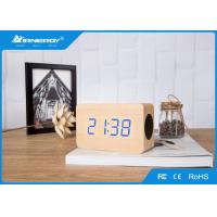 China Super Bass Wooden Wireless Speakers / V4.0 Wooden Bluetooth Alarm Clock Radio wholesale