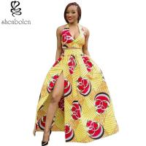 Quality Sexy Halter Neckline Short Top African Print Dresses Maxi Ankara Wax Batik for sale