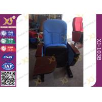 China Long-term Comfort No Floor Fixed Blue PP Back Conferece Hall Chairs With MDF Pad wholesale