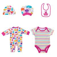 China New Born Girls Cotton Infant Rompers Bibs Bodysuit Clothes Full Printed Baby Clothing Set wholesale
