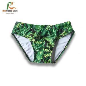 China Custom Printing Lycra Spandex Swimwear / Mesh Fabric Type Mens Swim Briefs on sale