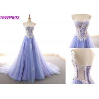 China Sexy Formal Satin A Line Wedding Dress / Fashion Purple Sleeveless Bridal Gowns wholesale