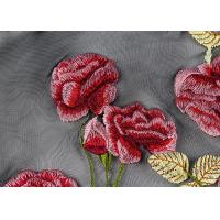 Quality Colorful Embroidered Lace Fabrics , Multi Color Floral Blossom Lace Mesh Fabrics for sale