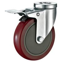 """Pressed Steel Housing PU Caster Wheel For Case Carts Utility Carts 5""""X1-1/4"""" for sale"""