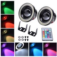 China Colorful DRL 89MM 30W Car LED Fog Lights With RGB COB Halo Angel Eye Rings wholesale