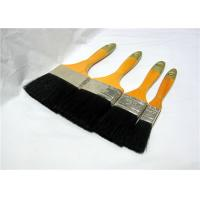 China Black Bristle Flat Paint Brushes For Walls , Soft Deck Paint Brush With Handle wholesale