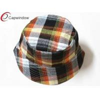 Quality Women Classical Fisherman Bucket Hat Red Checks Pattern Printing for sale