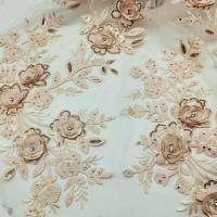 China 3D Flower Embroidered Lace Fabric , Sequin Lace Mesh Fabrics For Fashion Dresses wholesale