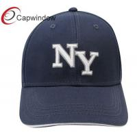 China Adult Heavy Brushed Cotton Baseball Caps White NY 3D Embroidery Sandwich Layer wholesale