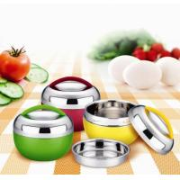 China Kitchen Keep Warm Stainless Steel Food Container with Yellow, Green, Red wholesale
