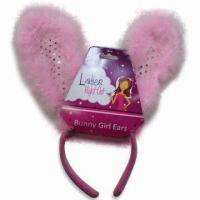 China Bunny Headband with Feather, Made of Cheap Plush wholesale
